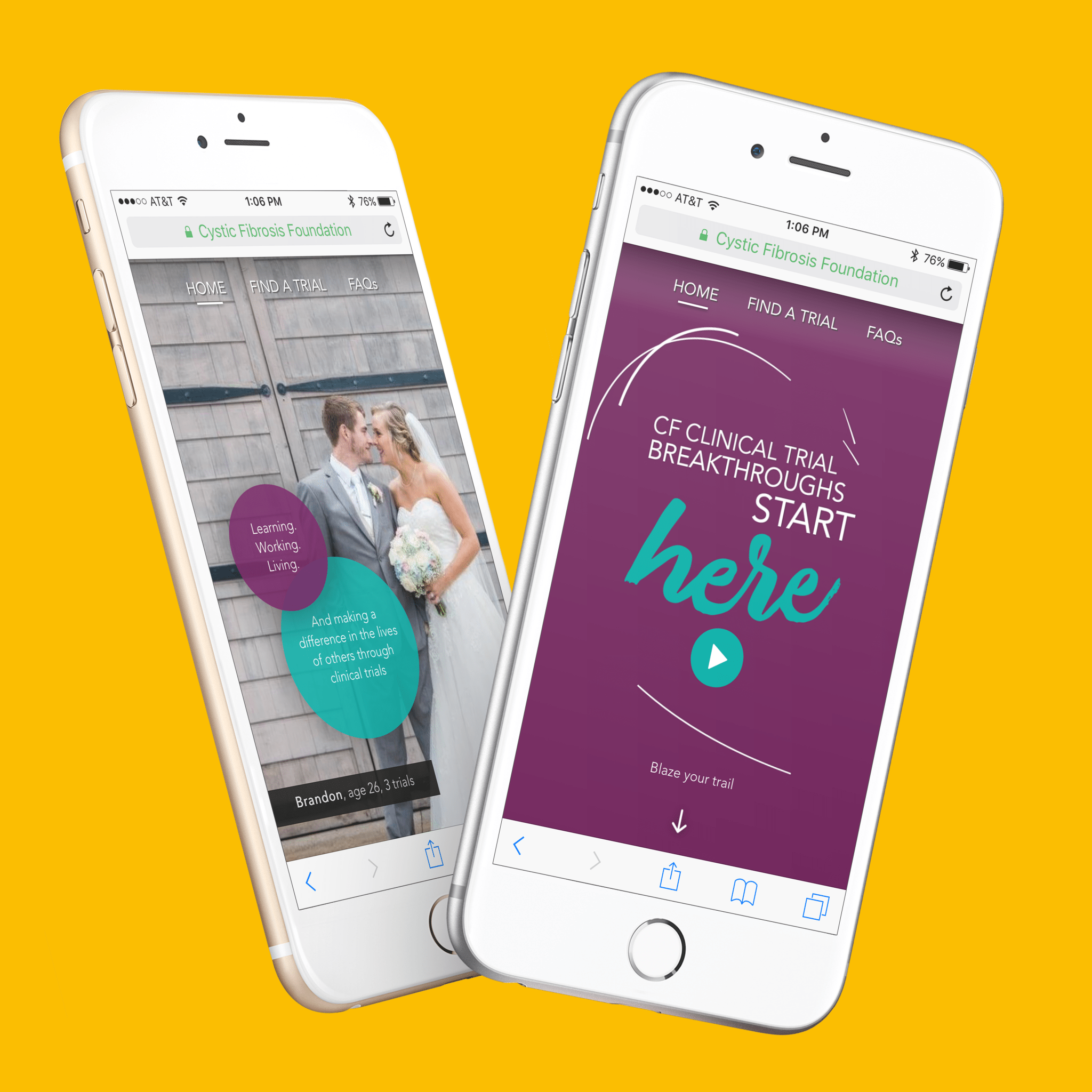 Mock-up of mobile-first responsive site for CFF created and developed by D.C. branding agency, Grafik