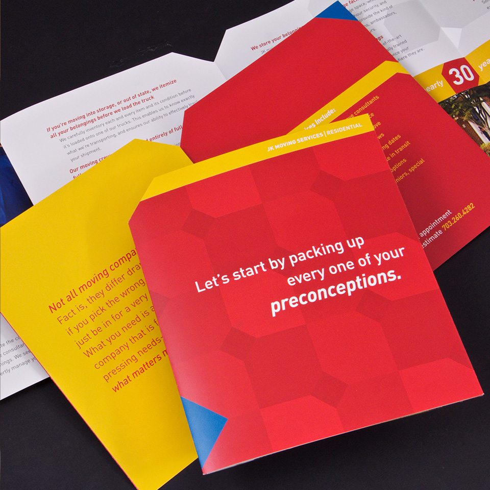 Successful rebranding case study collateral folder to display brand identity executed across different mediums.