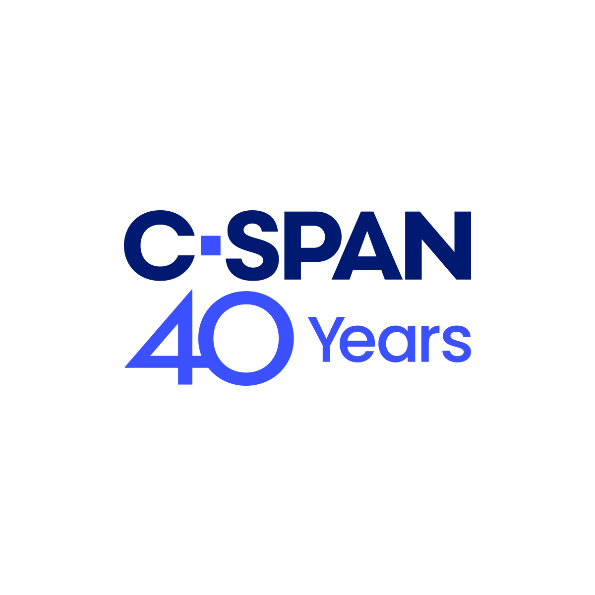CSpan 40th year logo, an American cable and satellite television network that was created in 1979 by the cable television industry as a nonprofit public service.