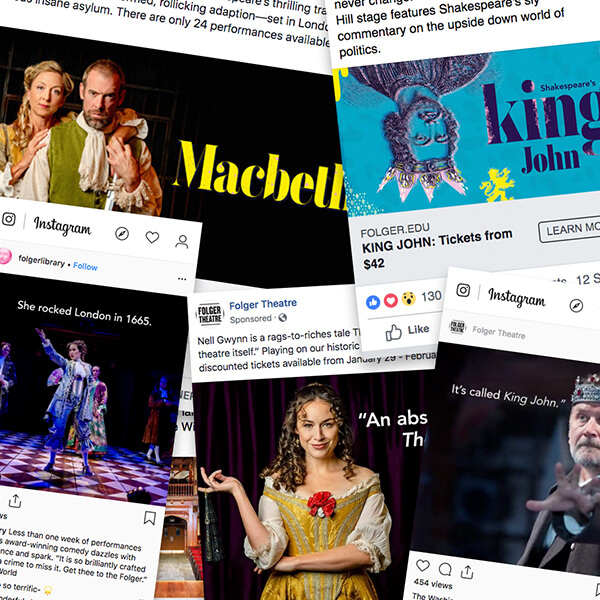 Social media ads for Folger Theatre