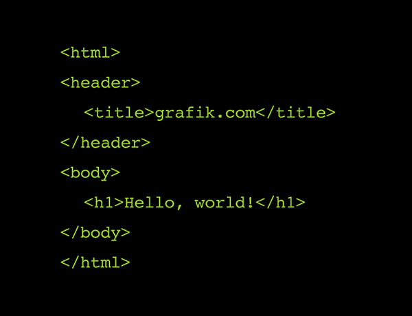Image of html code for Grafik.com